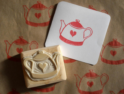 Hand Carved Stamp - Teapot