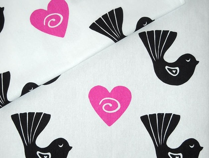 Tea Towel - Fantail with pink heart
