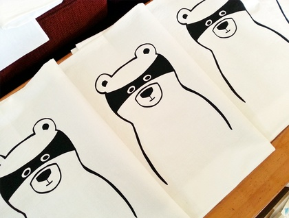 Hand Printed 300 Thread Count Pillowcase - Bandit Bear