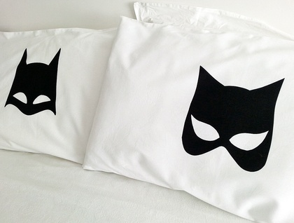Handprinted Pillowcases - The Bat and the Cat