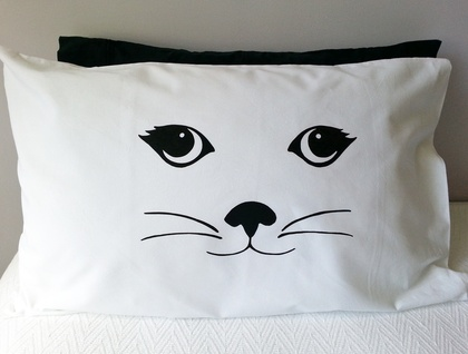 Handprinted Pillowcases - His and Her's Cats
