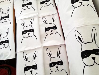 "Handprinted 300 Thread Count Pillowcase - ""Bandit Bunny"""