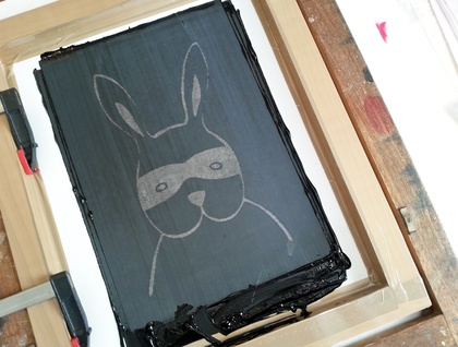 "Handprinted 300 Thread Count Pillowcase - ""Bandit Bunny"""