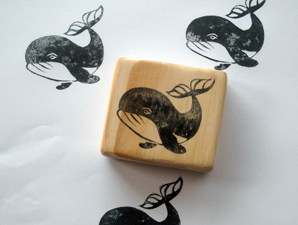 Hand Carved Stamp - Whale