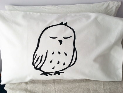 "Hand Printed 300 Thread Count Pillowcase - ""Baby Ruru"""
