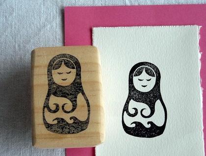 Hand Carved Rubber Stamp - Matryoshka Doll, Kiwiana