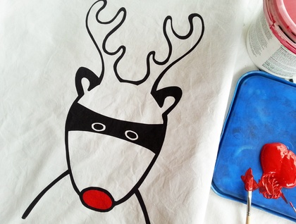 "Handprinted 300 Thread Count Pillowcase - Santa's Superhero ""Rudolph"""