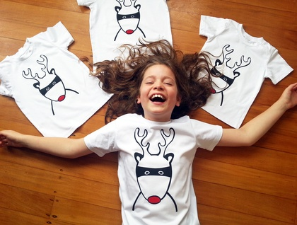 """PRE ORDER - Hand Printed Kids T-Shirt - """"Santa's Superhero"""""""