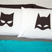 Handprinted 300 Threadcount Pillowcases - The Bat and The Cat