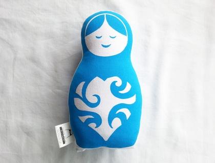 Handprinted Softie - Blue Russian Doll