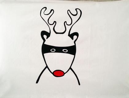 "Handprinted 300 Thread Count Pillowcase - Santa's Superhero ""Rudolph"""