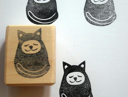 Hand Carved Rubber Stamp - Sleepy Cat