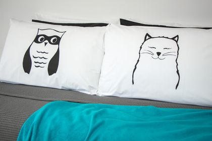 Handprinted 300 Thread Count Pillowcases - The Owl and The Pussycat