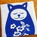 Handprinted Tea Towel - Large Springtime Sleepy Cat