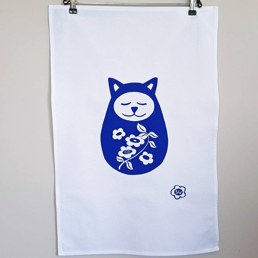 Handprinted Tea Towel - Large Springtime Sleepy Cat