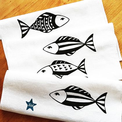 Handprinted 100% Linen Tea Towel - Fishy Business