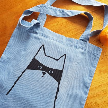 Handprinted Denim Tote - The Cat in Disguise