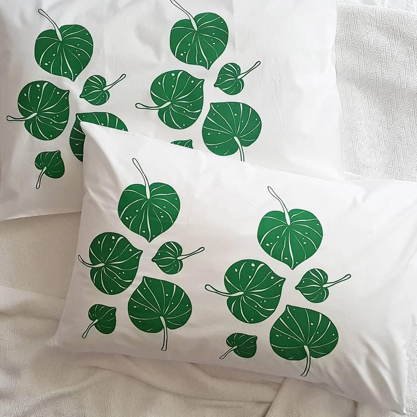 Hand Printed 300 Thread Count Pillowcase - Kawakawa Leaves