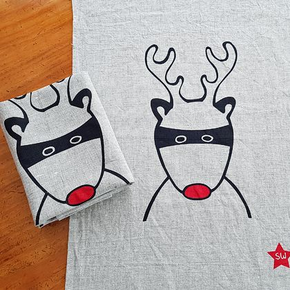 "Handprinted Linen Tea Towel - Santa's Superhero ""Rudolph"""