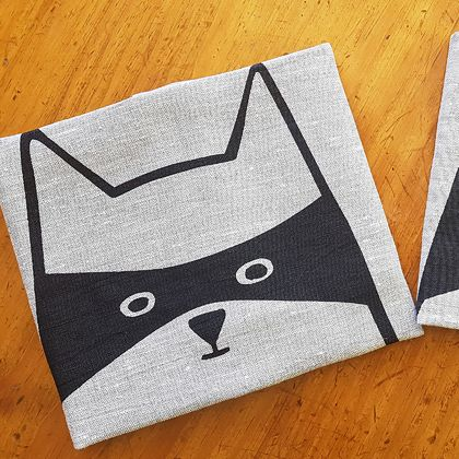 Handprinted 100% Linen Tea Towel - Cat in Disguise