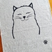 Handprinted 100% Linen Tea Towel - Miss Kitty