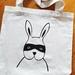 Handprinted Canvas Tote - Bandit Bunny