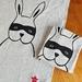 Handprinted 100% Linen Tea Towel - Bandit Bunny