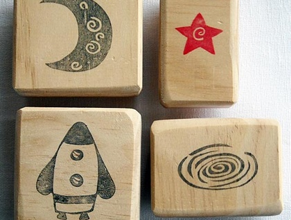 Hand Carved Rubber Stamp Set - Blast off into Space!