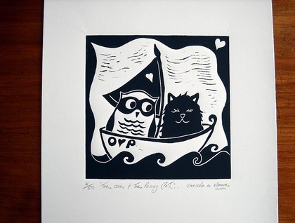 Limited Edition Lino Cut - The Owl and The Pussycat......