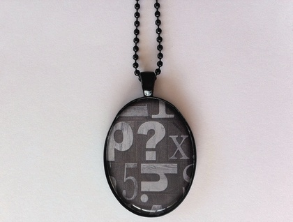 Grey Letters, ? and Number 5 necklace