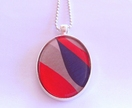Red Blue & Grey Abstract necklace