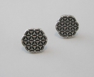 """Flower of Life"" Antique Silver Ear Studs"