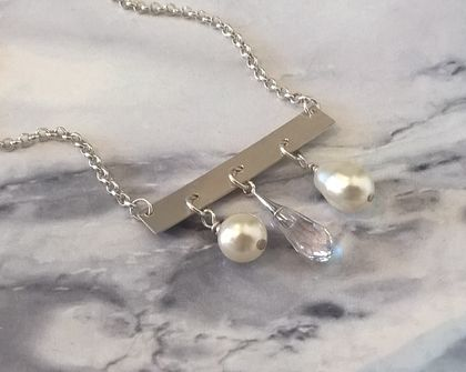 Silver Triple Drop Necklace