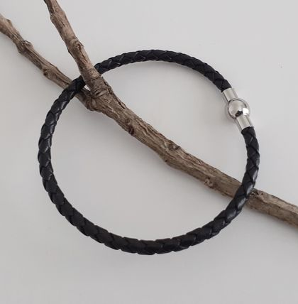 Men's Woven Leather Bracelet - Black