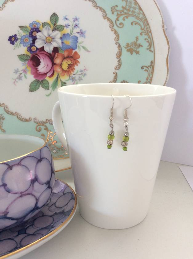 Earrings: Tiny citron lime & silver