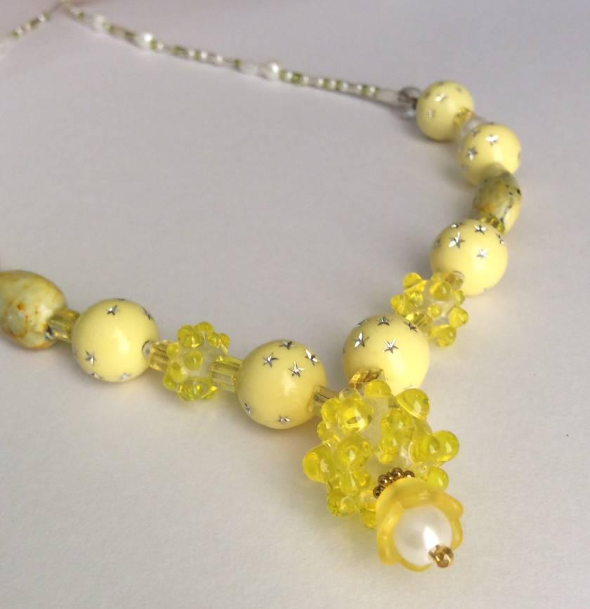 Necklace and earrings set: Limoncello