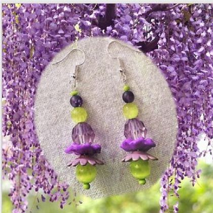 "Earrings: Wisteria ""Floribunda"" (Floral Bouquet range)"