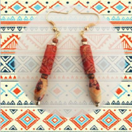 Earrings: Abstract Boho Tribal - part of a set of three (Boho Range)