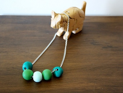 Polymer clay necklace in Green Ombre
