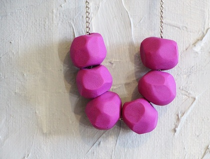 Faceted geometric polymer clay beaded necklace in Purple