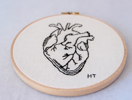 Anatomical heart embroidered hoop art