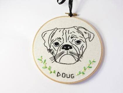 Custom hand embroidered pet hoop art!