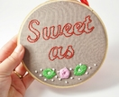 Sweet As Kiwiana Embroidered Hoop Art