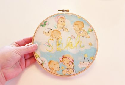 Baby 'Shhh' Embroidered Hoop Art
