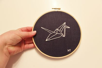 Origami Crane Embroidered Hoop Art