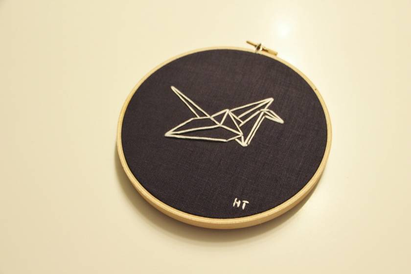 Origami Crane Embroidered Hoop Art