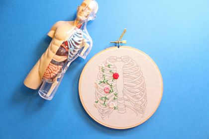 Floral Rib Cage Embroidered Hoop Art