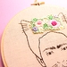Pastel Florals Frida Kahlo Cat - Hand Embroidered Modern Hoop Art - Wall Hanging - Needlework - Framed Art