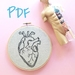 Anatatomically Correct Heart Beginner Hand Embroidery Pattern PDF digital download