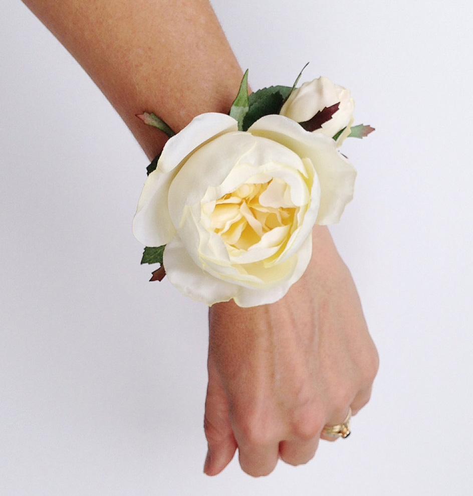 Cream Garden Rose cream garden rose silk flower wrist corsage | felt
